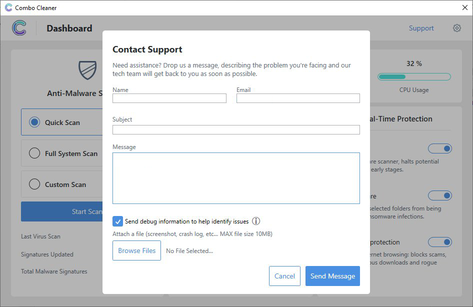 Built-in customer support form