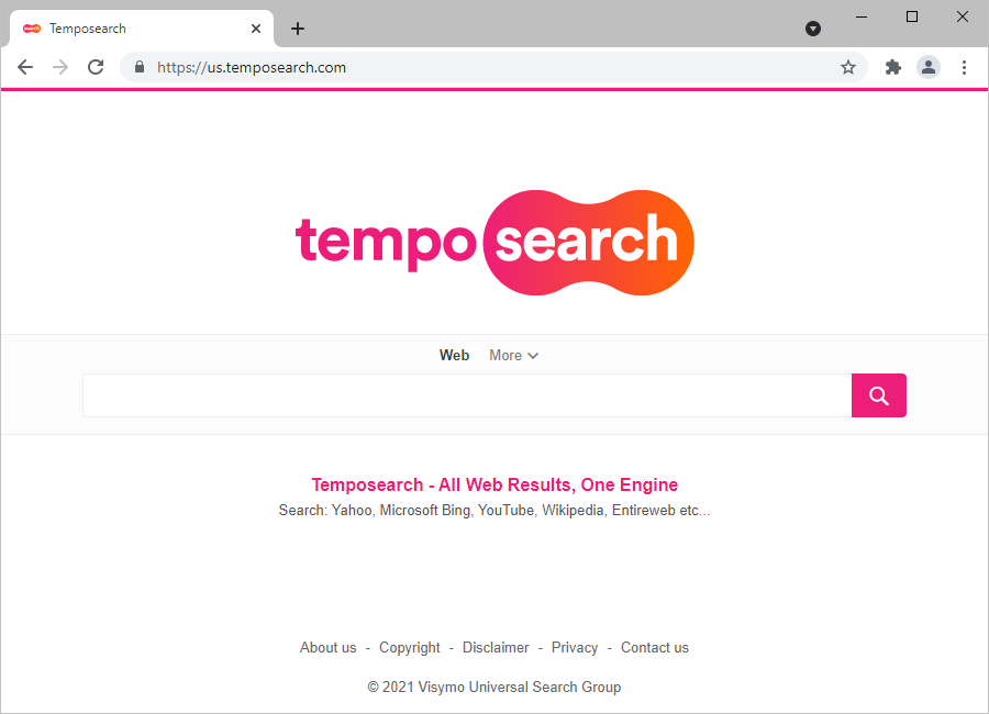 Temposearch.com, the service promoted through the redirect scheme