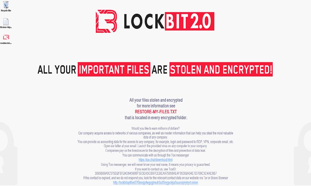 Desktop warning wallpaper set by LockBit 2.0 ransomware
